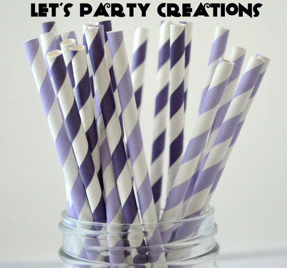 50 Purple and Light Purple Paper Straws, Stripe Purple Straws, Drinking Straws,Cake Pops, Purple Weddings, Purple baby shower on Etsy, $8.00