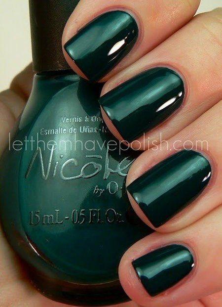 Dark green Nicole by OPI Polish #nails - - bellashoot.com