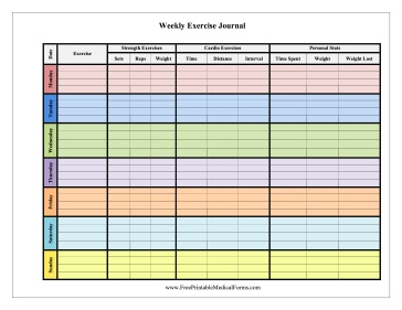 Weekly Exercise Journal Color Medical Form | Printables ...