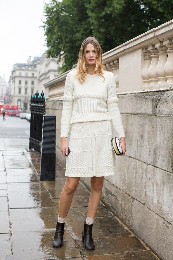 "London Fashion Week Street Style – Spring/Summer 2014 (Vogue.com UKVictoria Sekrier, contributing stylist  ""I'm wearing a top and skirt by Cote with a Sophia Webster clutch and Margiela boots."""