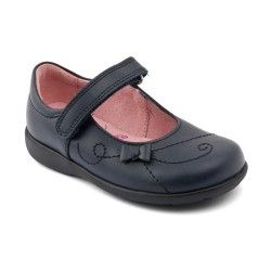 Navy Blue Leather Girls Riptape School Shoes http://www.startriteshoes.com/school-shoes