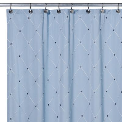 Wellington Fabric Shower Curtain in Blue - BedBathandBeyond.com