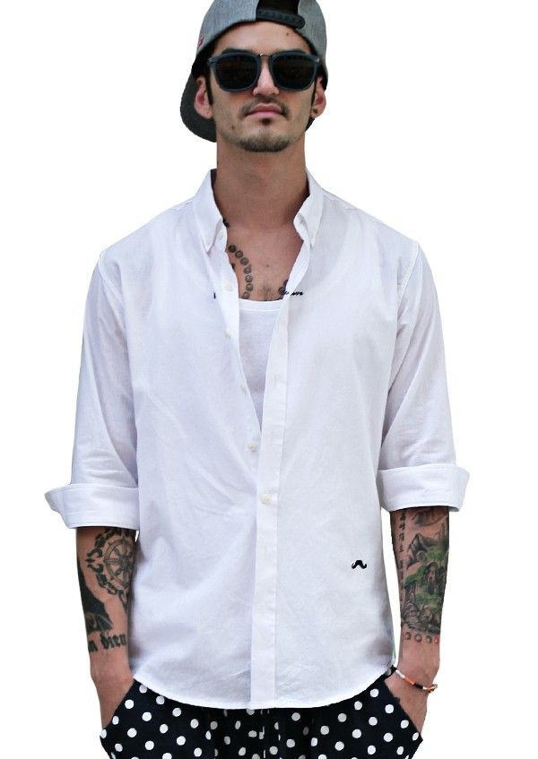 Doublju Mens Basic White 3/4 Sleeve Dress Shirts #doublju ...
