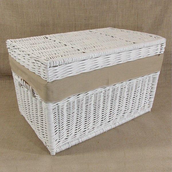 Wiklinowy kufer z płaskim wiekiem - biały z obszyciem ( LENDA )