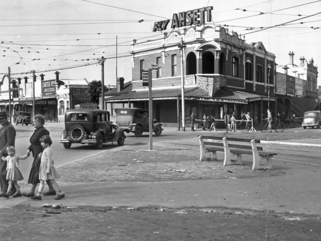 1955: Intersection of Mount Alexander Rd and Fletcher St in Essendon. Picture: Herald Sun Image Library/ARGUS