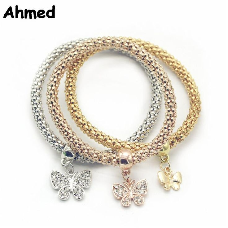 Ahmed Jewelry 3Pcs Lot Good Quality Fashion Alloy Crystal Butterfly Bracelets & Bangles Ethnic Round Charm Bracelet Y-GH2 #Affiliate