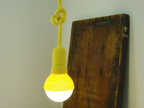 Lampe ceiling pendant light and 75 cm cord crocheted in by etaussi, €77.40