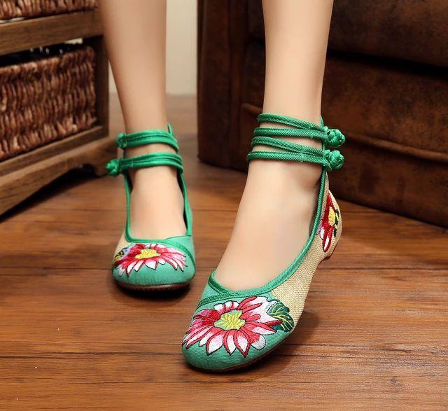 Lazutom Style Décontracté Des Femmes Chinoises Mary Chaussures Vintage Brodé Janes Appartements, Couleur, Taille 39 Eu