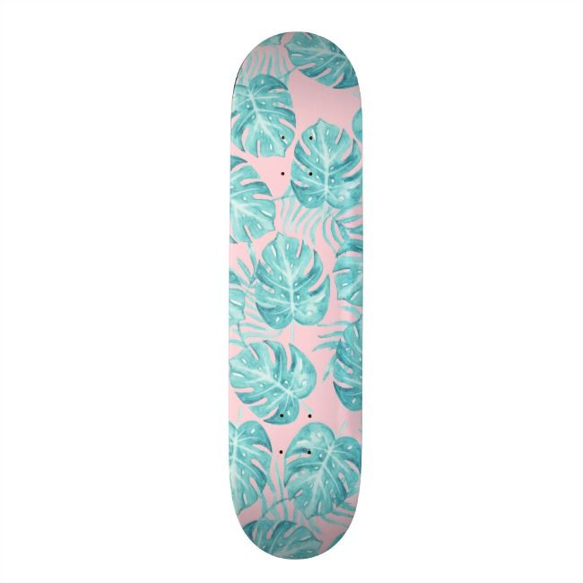 Cute Pink Teal Watercolor Tropical Plant Flowers Skateboard Deck Zazzle Com Painted Skateboard Skateboard Art Skateboard Deck Art