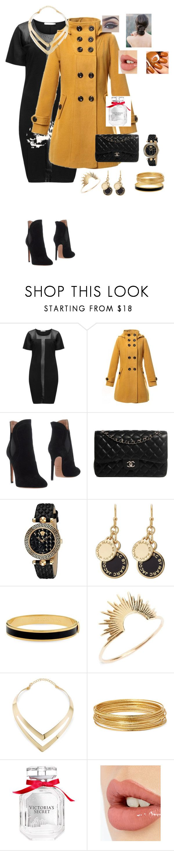 curvy new year by jaslene b by jaslenetejada on Polyvore featuring Studio, Alaïa, Chanel, Sarah & Sebastian, Fortuni, Versace, Bold Elements, Marc by Marc Jacobs, Halcyon Days and Charlotte Tilbury