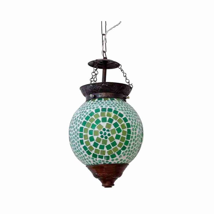 Glass Hanging Lamp with Mosaic Art - Green