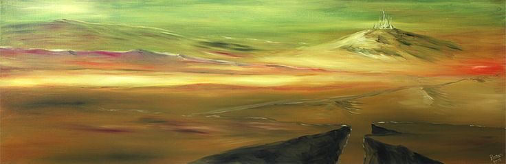 At the border of imaginagion. Oil on canvas, fine Art. 120 x 40 cm.  Available for sale