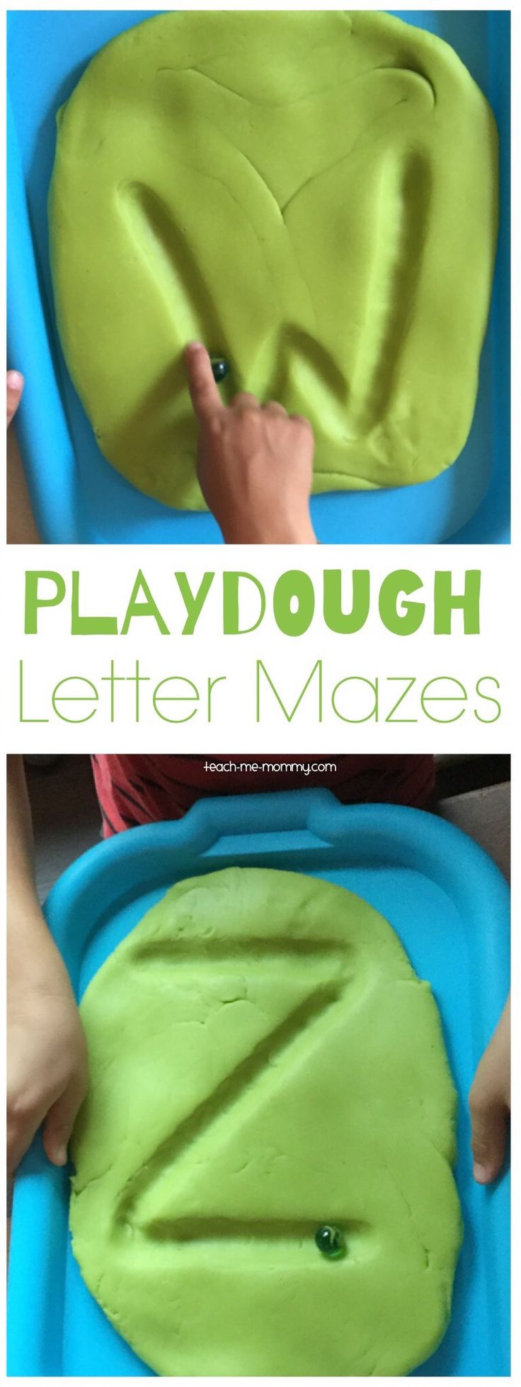 Playdough letter mazes! Clever ABC activity and fine motor game. Pinned by OTToolkit.com. Treatment plans and patient handouts for the OT working with physical disabilities and geriatrics.