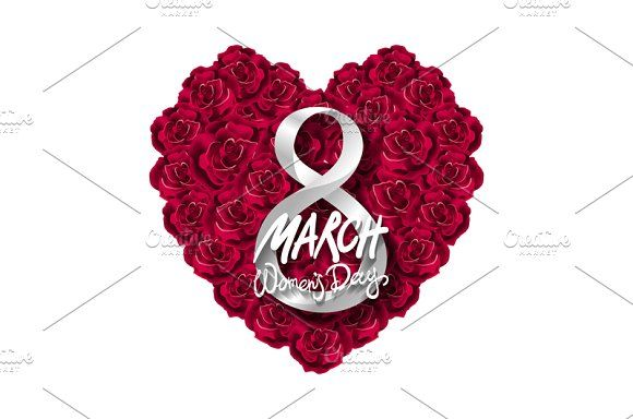 red rose heart 8 march women day by Rommeo79 on @creativemarket