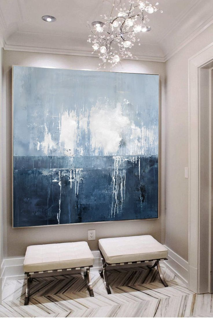 Original Deep Blue Sea Abstract Art Sky Landscape Painting,Abstract Art Oil Painting,Large Wall Sea Painting,Sea Level Abstract Oil Painting