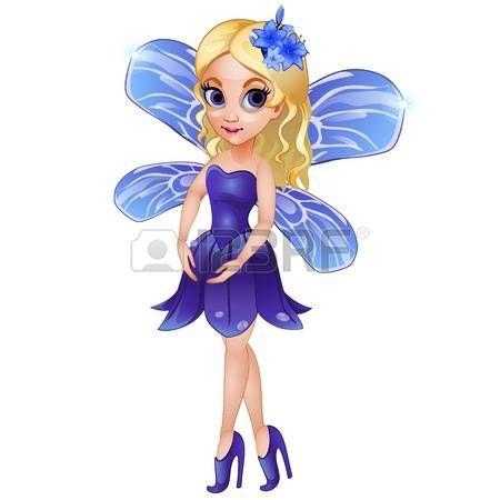 butterfly clip art: Fata con ali in abito blu con fiore sulla testa. Ragazza di vettore immaginario personaggio su sfondo bianco Vettoriali