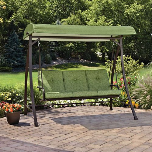 Superb Free Standing Swing With Canopy Garden Deck Hammock Green Floral Pool Yard  New