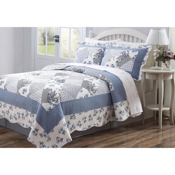 3 PCS Quilt Bedspread Coverlet Blue And White Floral Patchwork Design High Quality Microfiber Full Size