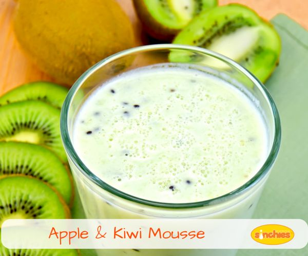 Apple Kiwi Smoothie Recipe: It's a delicious mousse like dessert for kids that combines the natural sweetness of apple's and kiwi with yoghourt