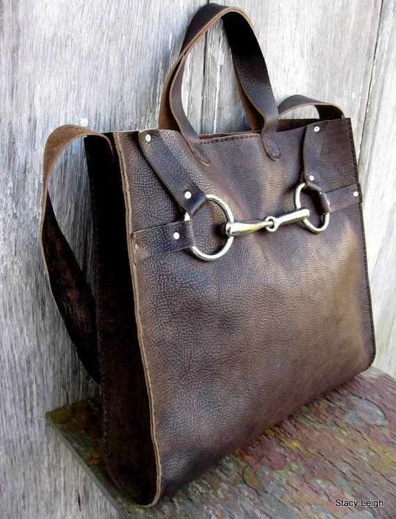 Equestrian Horse Bit Tote Bag in Rugged Distressed von stacyleigh
