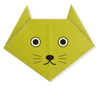 Easy Origami Cat(face)        origami cat diagram origami cat diagrams intermediate origami diagrams simplest origami origami cat(face)...
