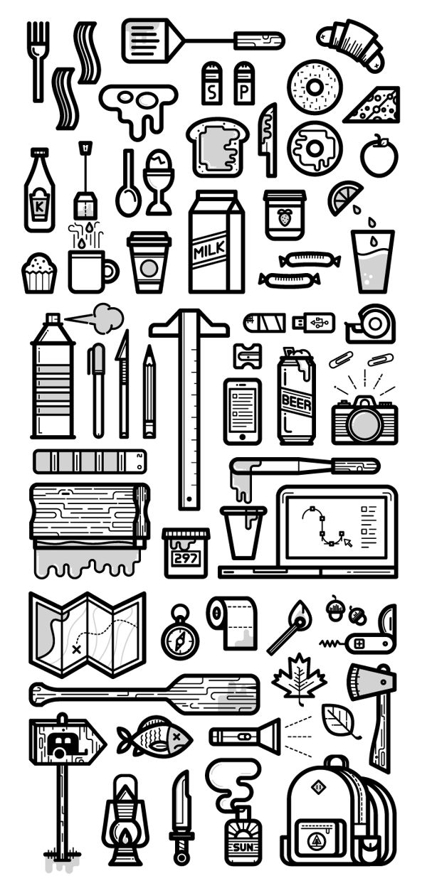 Icons (Everday Things) by Kevin Moran, via Behance