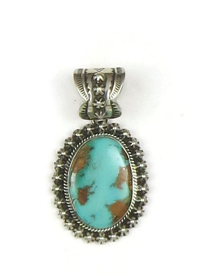 Handmade Natural Pilot Mountain Turquoise Pendant by Happy Piaso - Southwest Silver Gallery