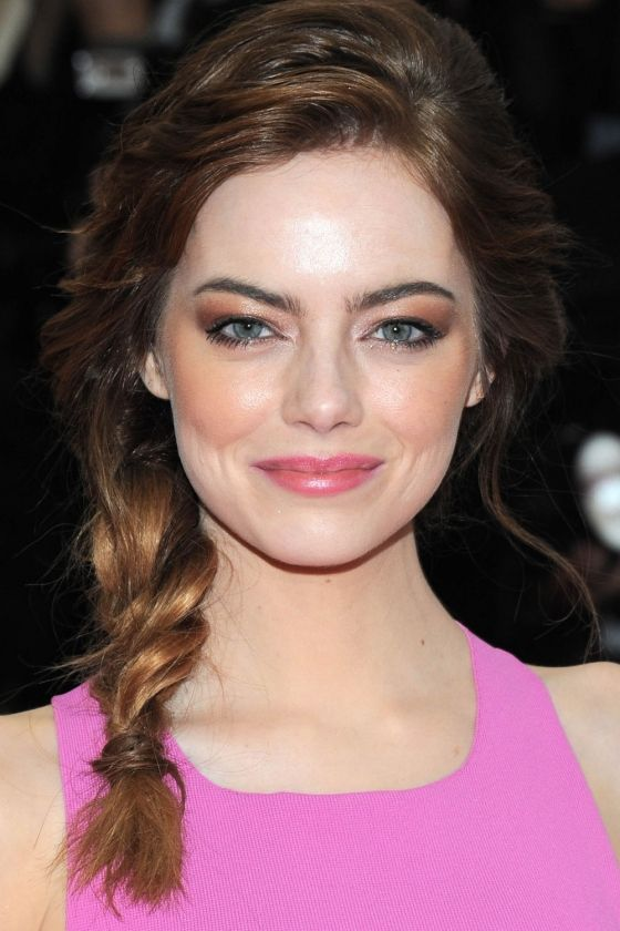 Emma Stone Does A Relaxed Plait At The Met Ball, 2014