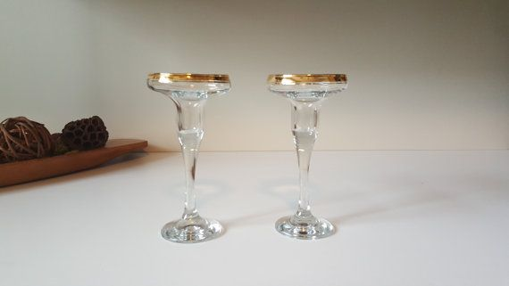 Vintage Candle Holders 22K Gold Rim Mikasa Crystal by RetroEnvy21