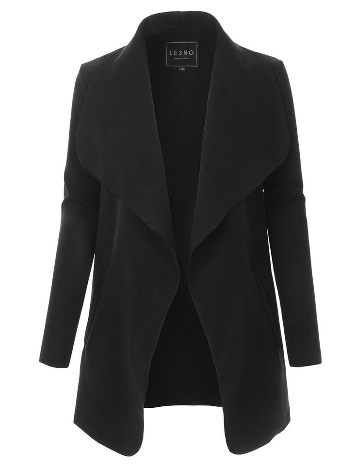 LE3NO Womens Lightweight Oversized Open Coat Jacket with Detachable Belt