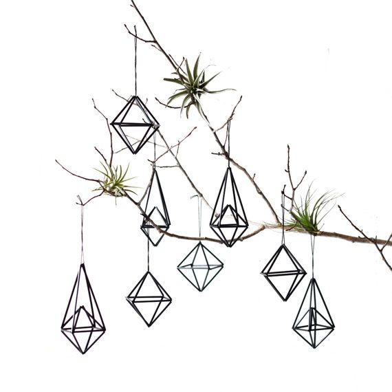 Set of 8 | Himmeli Ornaments | Modern Hanging Mobile | Air Plant Hanger | Minimalist Home Decor