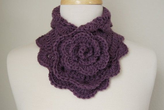 gorgeous neck warmer, collar or small scarf with a large rose in the center front!