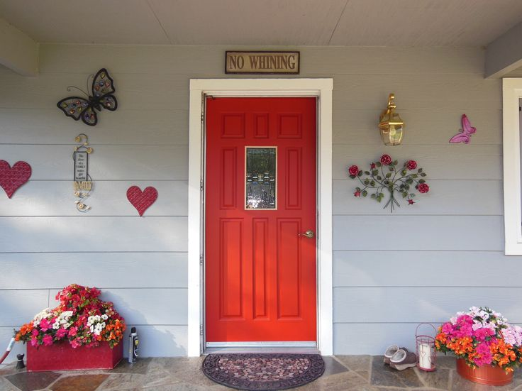 Country Style Red Front Door Entries And Doors Garage