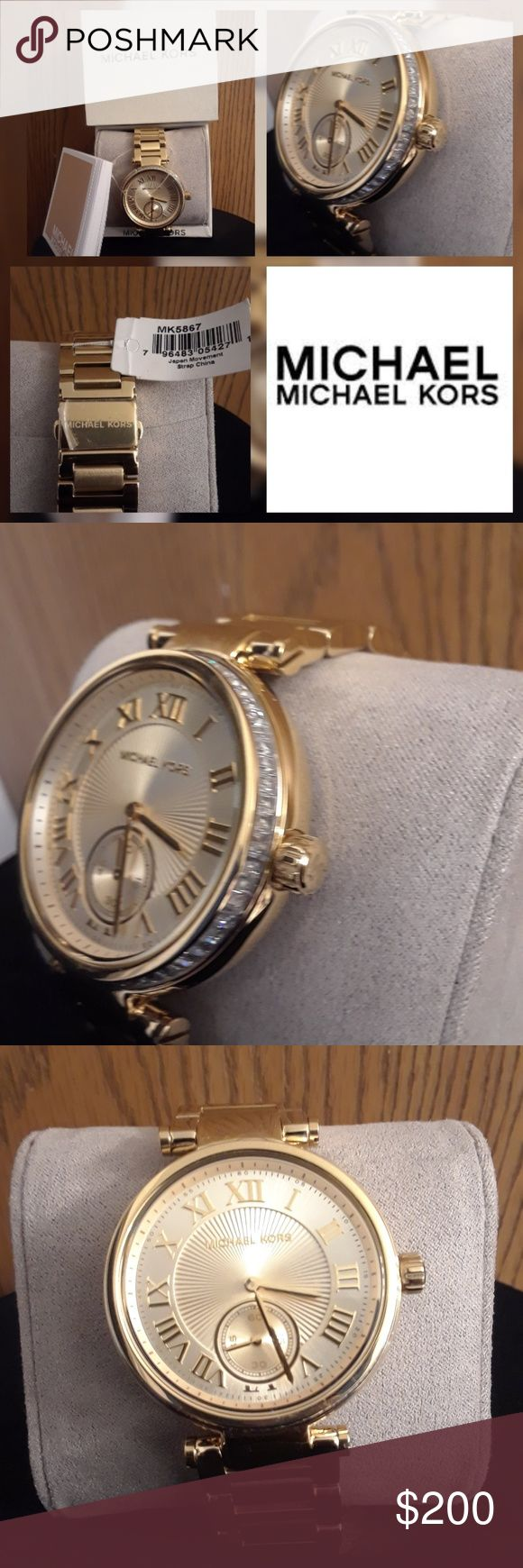 """BRAND SPANKING NEW """"MICHAEL KORS"""" WATCH!!! GORGEOUS BRAND NEW """"MICHAEL KORS"""" WATCH! TICKETS ATTACHED, BOX,PILLOW,& INFO BOOKLET... GOLD PLATED / GENUINE CRYSTAL.  RETAIL $398 Michael Kors Accessories Watches"""