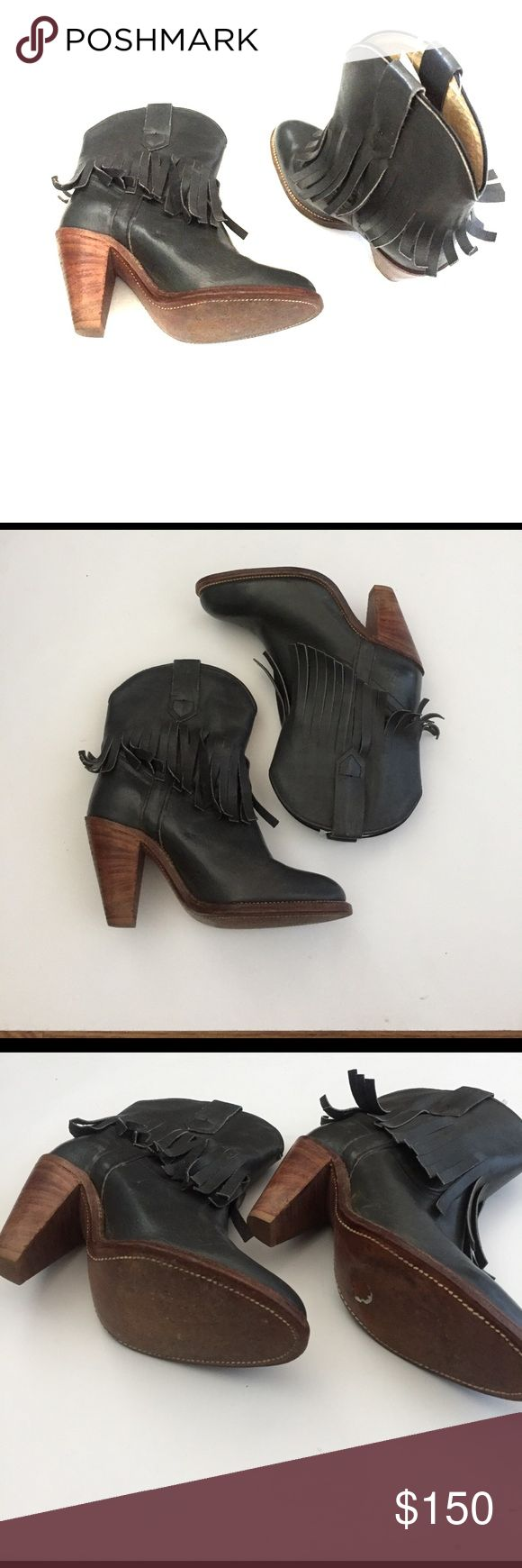 """Fyre Leather Booties- Good Condition Frye Ilana Fringe Short Boot- Grey Leather  Leather Grey Booties with Fringe  Pull-on construction Wrap around fringe detail Stacked chunky heel Leather lined Heel Height: 3 1/2"""" Shaft Height: 7"""" Circumference: 14"""" Fit: True to Size Frye Shoes Ankle Boots & Booties"""