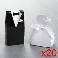 40 Wedding Gift Favor Boxes   Bridal Gown Dress and Grooms Tuxedo [Sale Price: $16.70]