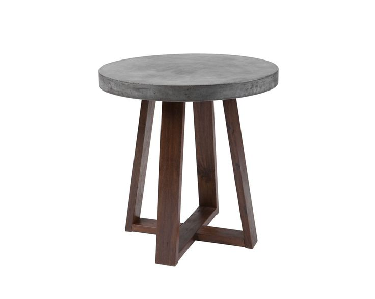 DEVONS END TABLE | .A mix of industrial and rustic design, this end table features a substantial concrete round top and is finished with a light espresso wood base. Crafted from a natural concrete mix, each piece will look different, with variations of grey hues.