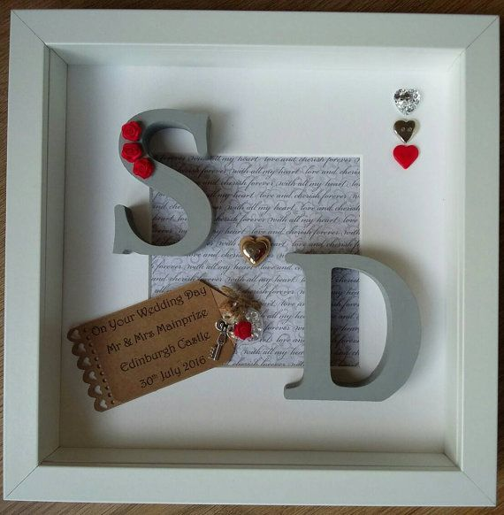 personalised wedding anniversary gift engagement marriage rustic scrabble art frame picturewall art mr mrs 3d initials box frame