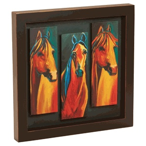 Three Horse Shadow Box Art