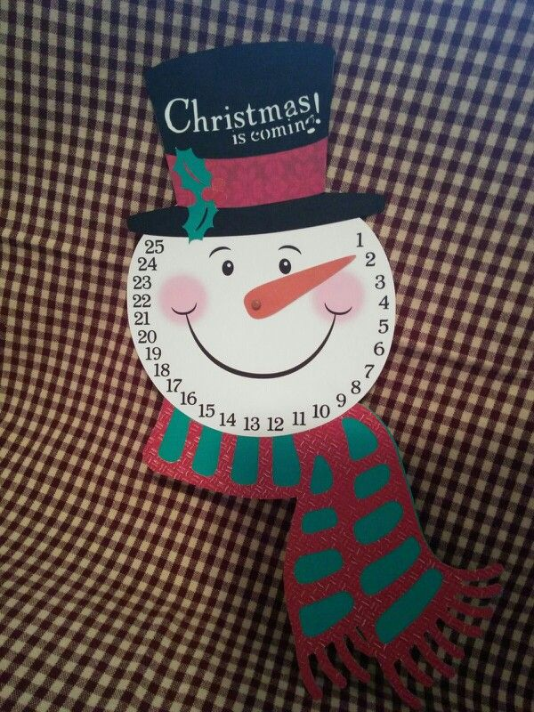 Snowman advent calendar move his carrot nose to count down the days