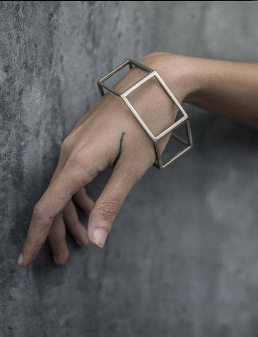 Géométrique bracelet manchette Minimal manchette argent