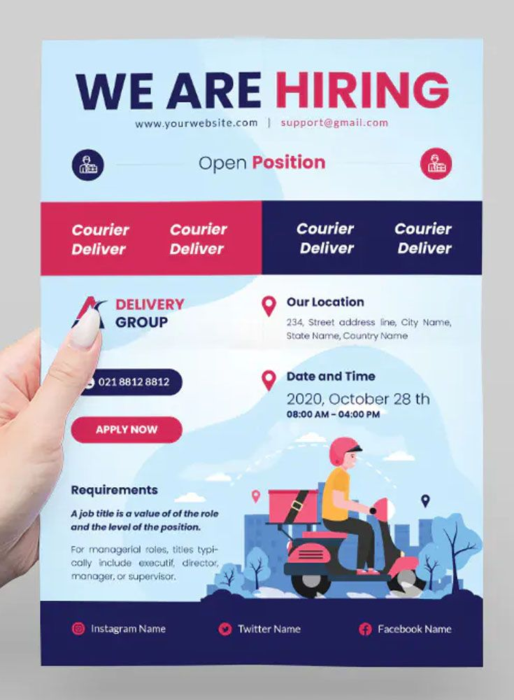 Courier Delivery Job Hiring Flyer Template Delivery Jobs Jobs Hiring Job