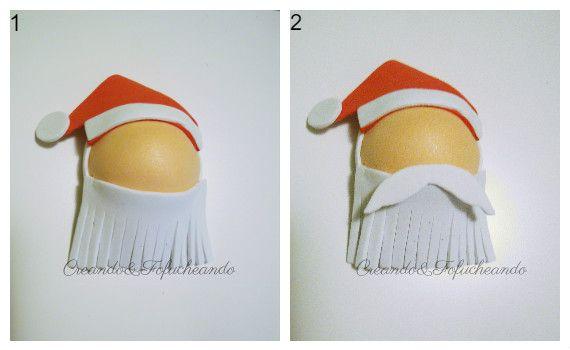 Barba y bigote de Papá noel para corona de Navidad con Goma eva y papel crespón