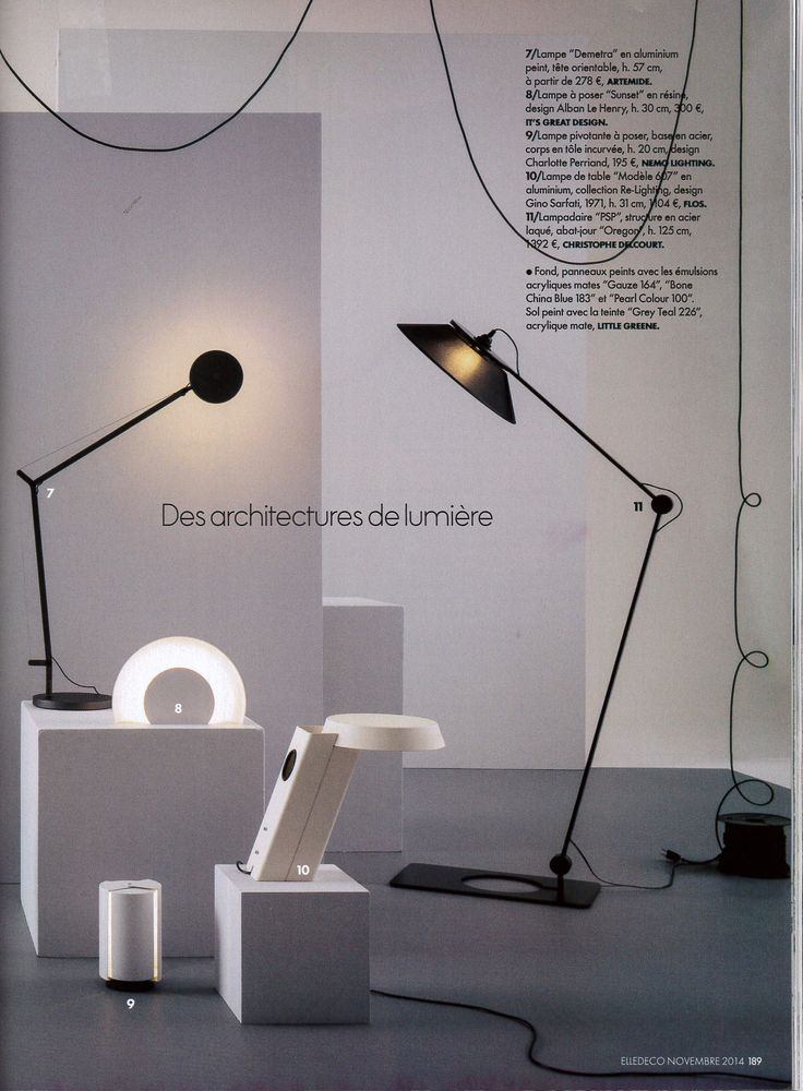 ELLE DECORATION - November 2014 - Piovotante à poser #design by Charlotte Perriand reissued by #nemolighting #nemolamps