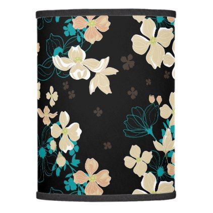 Floral Beige and Teal Lamp Shade - floral style flower flowers stylish diy personalize