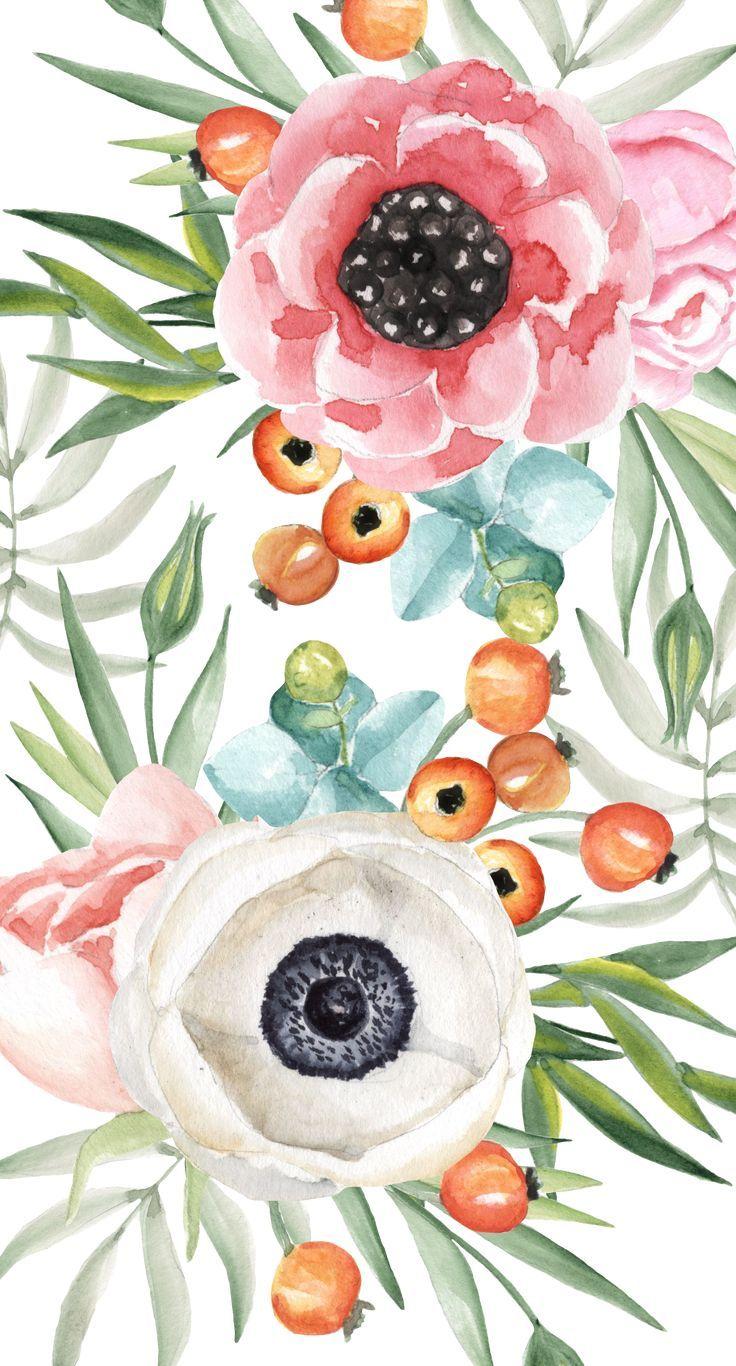 Casetify Iphone Art Design Illustrations Floral Pink