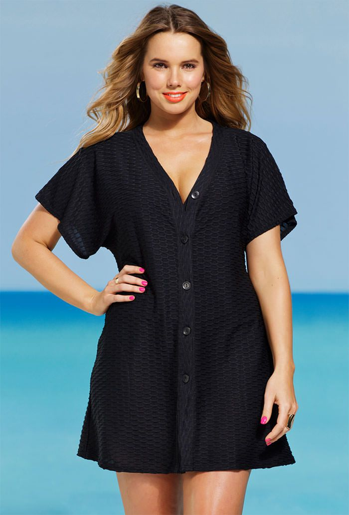 Solution Black Plus Size Waffle Button Up Tunic Sale Where