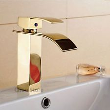 Gold Polished Waterfall Bathroom Tap Single Handle Wash Basin Faucet Sink Mixer
