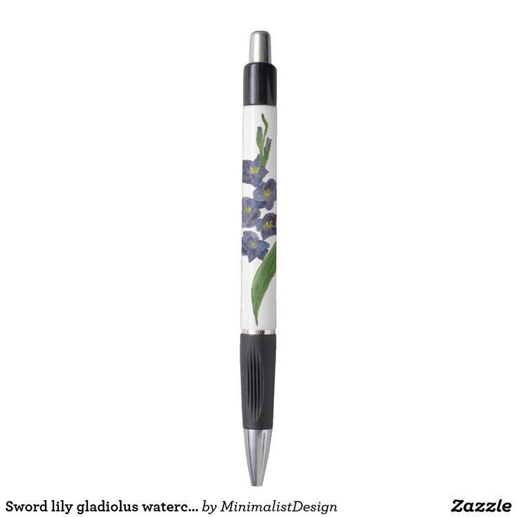 Sword lily gladiolus watercolor painting pen Pen custom printing, pen minimalist, gladiolus flower clip art, sword lily art online, sword lily watercolor, purple gladiolus watercolor, gladiolus watercolor paintings, pen custom made, Copyright © 2017, Anca Ioviţă #zazzle #minimalism