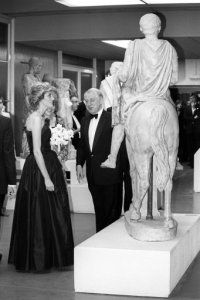 The Princess of Wales in a strapless black gown, designed by Elizabeth Emanuel, at the British…